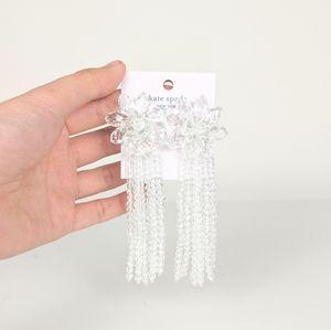 kate spade crystal flower tassel statement earring
